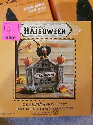 Dept 56 Snow Village Halloween 10th Anniversary Sign pumpkins fall decor NIB