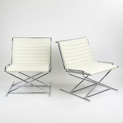 Pair Ward Bennett Sled Lounge Chairs By Geiger for Herman Miller White Leather