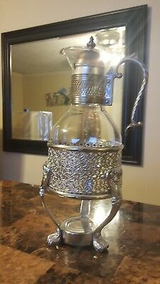 "Silver Plated Vintage Carafe Coffee Tea Pitcher/Base for Candle.14 1/2"" High."