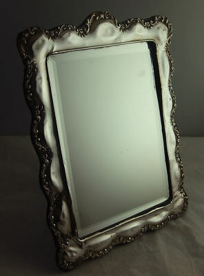 Large 11 Inch Art Nouveau Style Solid Silver Dressing Table Mirror - Birm 1917