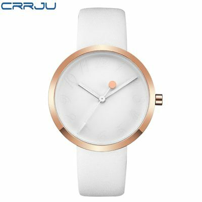 CRRJU Leather Strap Quartz Watches Fashion Formal Analog Japan Movement Water...