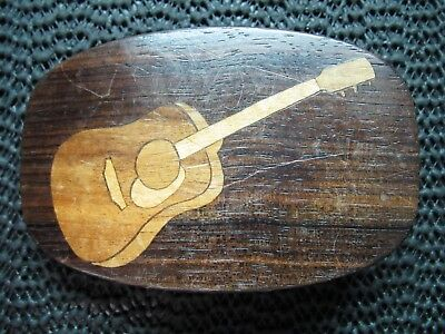 Wood Inlaid Guitar Belt Buckle! Vintage! Rare! Handmade! One Of A Kind? Usa!