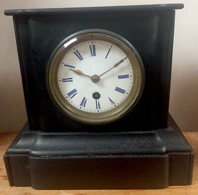 """French Marble Enamelled Face Architectural Form Mantle Clock  GWO 8""""H 9"""" L 5""""D"""