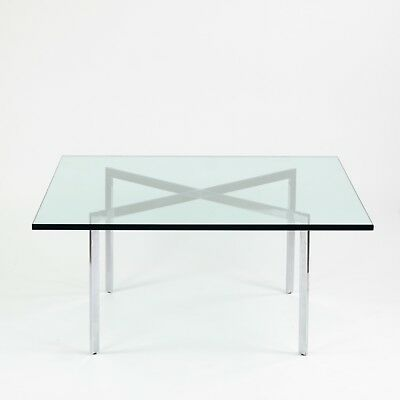 Vintage Knoll Mies Van Der Rohe Barcelona Coffee Table 40 Inch Glass Steel
