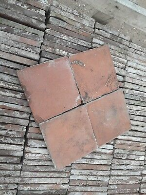 Reclaimed red clay 6 1/4 x 6 1/4 antique quarry tiles pamment Victorian floor