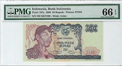 "Indonesia, 1968 50 Rupiah P-107a PMG 66 EPQ    ""General Soedirman"""