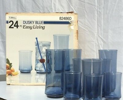 Libbey Dusky Blue Easy Living Drinking Glasses Set of 24 NEW In Box Tumblers