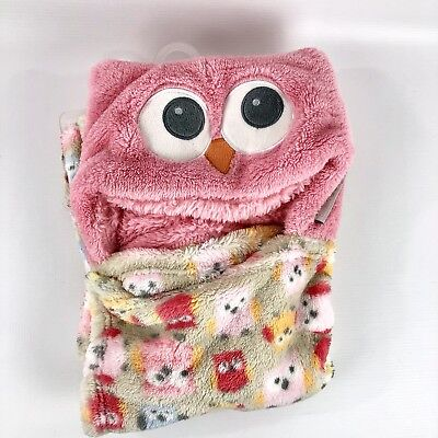 Blankets and Beyond Blanket Pink Hooded with Owl Hood Baby New no tags