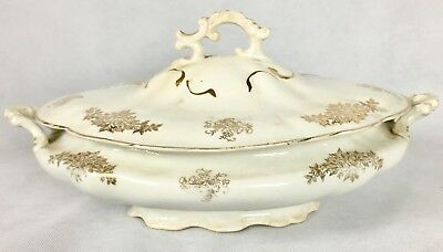 Antique RARE Homer Laughlin Colonial Gold Floral Covered Vegetable Serving Dish