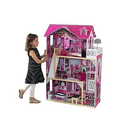 KidKraft 65093 Amelia wooden Dollhouse with 3 levels of play and 15 accessories