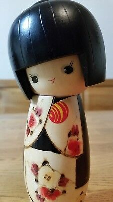 """Vintage Japanese Wooden Handcrafted Hand Painted Kokeshi Doll 7"""""""