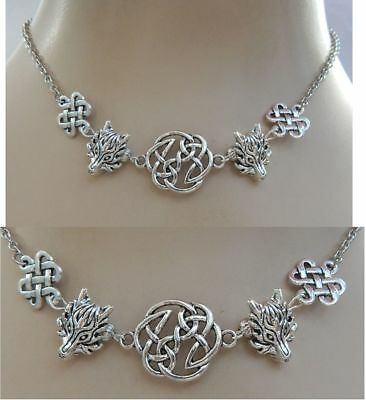 Wolf Necklace Pendant Silver Jewelry Handmade NEW Adjustable Fashion Celtic
