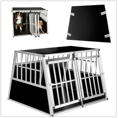 Double Dog Crate XXL Aluminium Transport Carrier Travel Box Car Cage Double Door