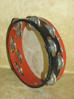 Vintage Tambourine Hand Percussion wooden frame with Metal Zills ideal Folk Musi