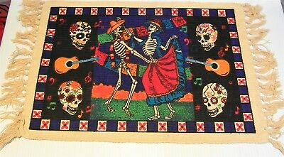 """PLACEMAT Day of the Dead DANCING SKELETONS 100% Heavy Cotton Stencil 13"""" x 19"""""""