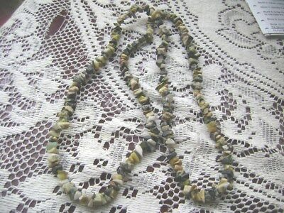"""Over The Head- 34 """" Lenth  Green, Tan, Brown......stone/gem Necklace!!!"""