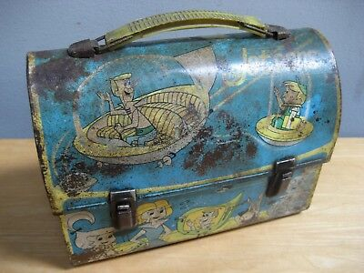 Vintage 1963 Orginal Jetson'S Metal Lunchbox No Thermos Faded Rusty Aladdin