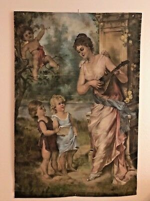 OMG Stunning Victorian Large Painted Romantic Tapestry Maiden Cherub Rose Signed