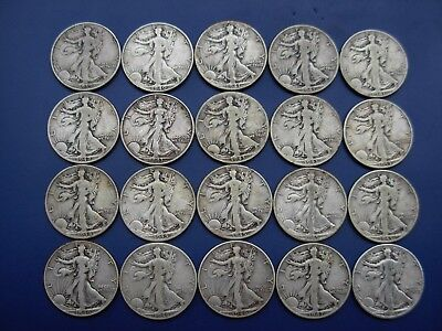 Very nice lot of 20 different better Walking Liberty halves: 1939-D-1947-D. #1