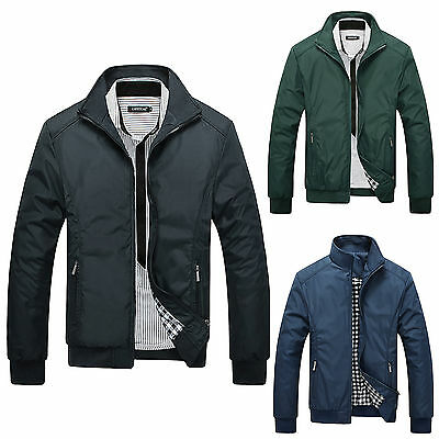 Fashion Mens Winter Slim Stand Collar Jacket Flight Bomber Casual Coat Outerwear