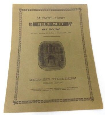 Program 1940 Baltimore County Colored School Field Meet at Morgan State College