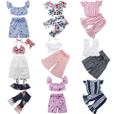 Fashion Newborn Toddler Baby Girl Crop Top T-shirt Long Pants Outfits Clothes US