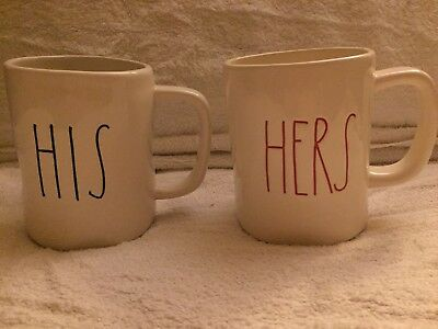 New Rae Dunn HIS HERS Mugs Set Of 2 New ARTISAN COLLECTION LL