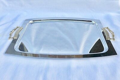 Kromex Serving Tray - Vintage Chrome Stainless Steel, Gold Handles, Made in USA