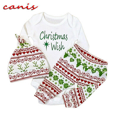 AU Stock Christmas Set Newborn Baby Girl Boy Top Romper+Pants Hat Outfit Clothes