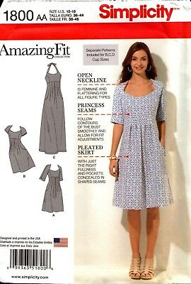 Simplicity Sewing Pattern 1800 Amazing Fit Misses' Dress 10-18 NEW