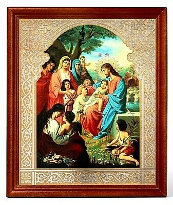 Jesus Christ the Blessing of Children  Russian Orthodox icon wood frame glass