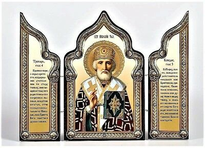 St. Nicholas  Wonderworker Russian Orthodox Icon Triptych Wood Silver gold