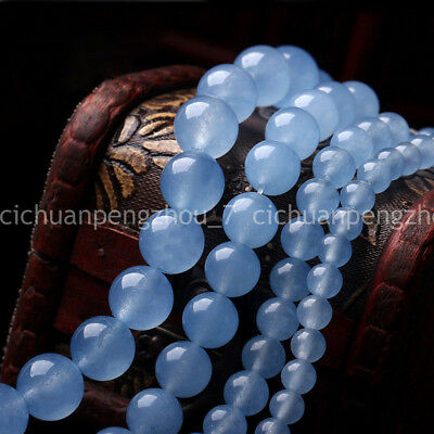 "4/6/8/10/12mm Natural Blue Jade Round Gemstone Loose Beads 15"" Strand AAA Fine"