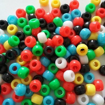 100pcs Plastic Pony Beads Barrel Assorted 9x6mm Jewellery Craft Supplies B20285