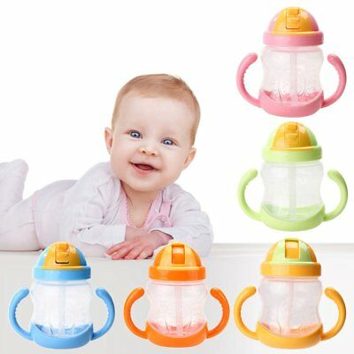 Baby Infant Straw Sippy Cup Learning Drinking Water Handle Bottle Training Cup