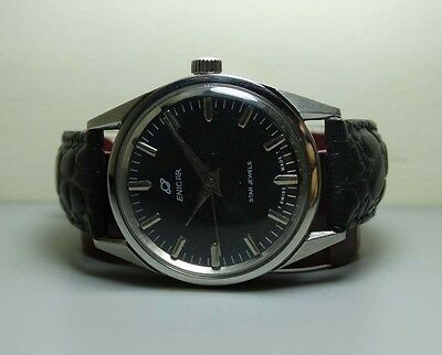 Vintage Enicar Winding Swiss Mens Wrist Watch Black Dial G866 Old Used Antique