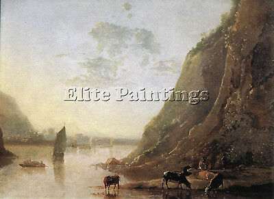 Cuyp Aelbert River Bank With Cows Artist Painting Oil Canvas Repro Wall Art Deco