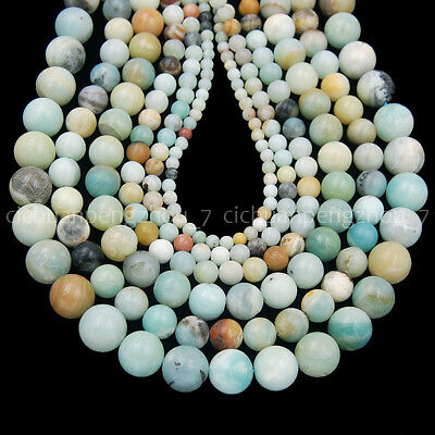 """Natural 6mm 8mm 10mm 12mm Multi-color Amazonite Round Loose Beads 15 """" AAA"""