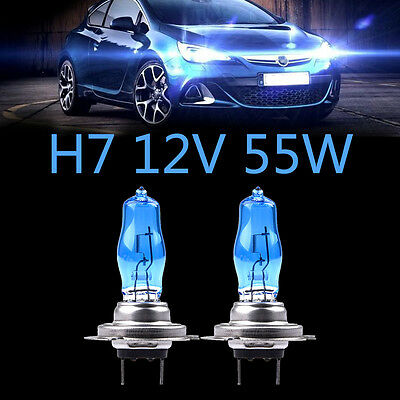 2Pcs 12V H7 55W Xenon White 6000k Halogen Car Head Light Lamp Globes Bulb