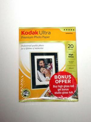 "40 Sheets KODAK ULTRA PREMIUM GLOSS PHOTO PAPER 6 x 4"" 10 x 15cm BONUS PACK"