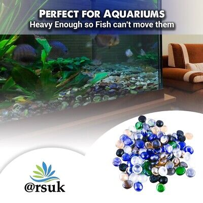 Glass Pebbles for Aquarium & Decoration Blue Black Green Transparent Mixed (1Kg)