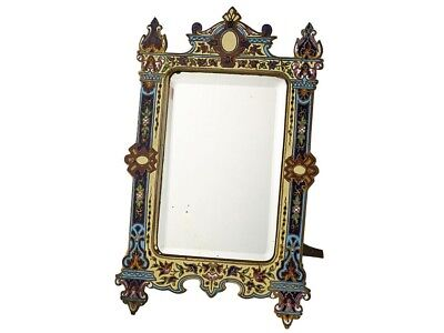 c1880 French Cloisonne Enamel and Gilt Toilette Mirror