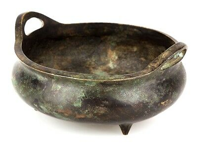 c1680 Chinese Bronze Censer with Qing Kangxi Marks