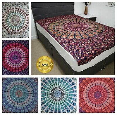 Peacock Feather Indian Mandala Cotton Wall Hanging Tapestry Bohemian Room Decor
