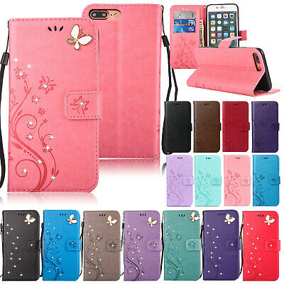 For iPhone 7 8 Plus X Phone Case Embossed Flip Leather Wallet Cards Stand Cover