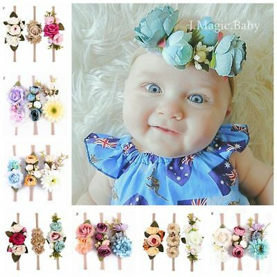 Baby Kids Flower Hair Garland Crown Headband Floral Wreath Hairband AU Set of 3