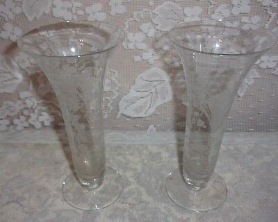 Vintage Pair Of Martinsville Etched Glass Prelude Buffet/Mantel Vases