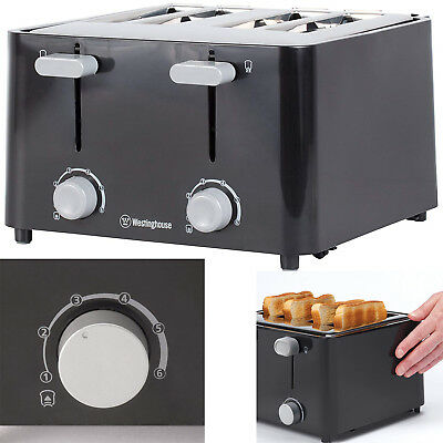 4 Four Slice Toaster Bread Electric Wide Slots Bagel Kitchen Stainless Steel