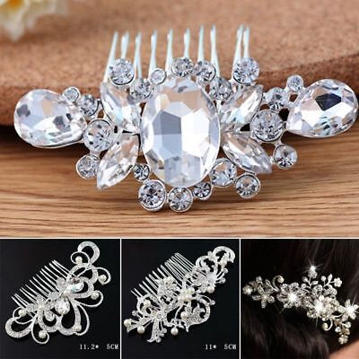 Girls Wedding Bridal Crystal Hair Comb Clip Headpieces Jewelry Hair Accessories