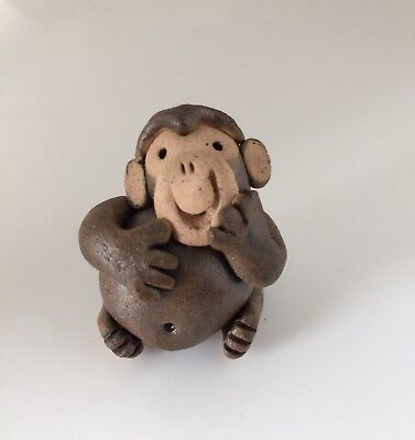 Little Guys Chimp Monkey Handmade Cindy Pacileo Pottery Mid 1990s Collection